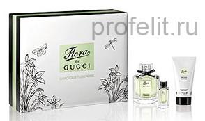 Подарочный набор с женской туалетной водой 50 мл + лосьон для тела 50 мл +  миниатюра парфюма 5 мл Gucci Flora By Gucci Gracious Tuberose — Gucci 46ae87079ba
