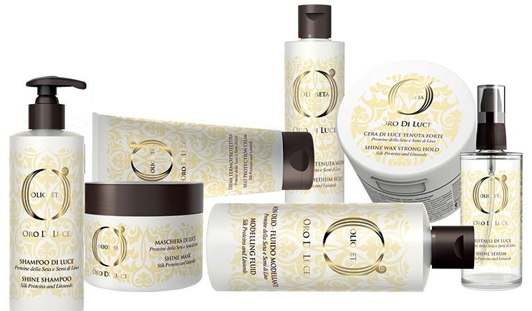 Линия для сияния волос с протеинами шелка и маслом семян льна Olioseta Oro Di Luce — BAREX